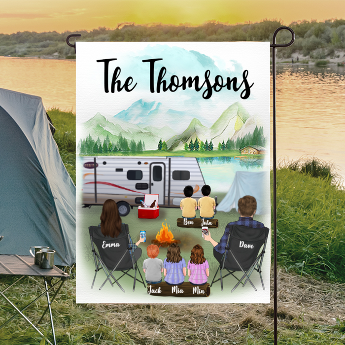 Custom dog flag sign - Personalized camping flag gift idea for the whole family, dog lovers - Family With 5 Kids Banner