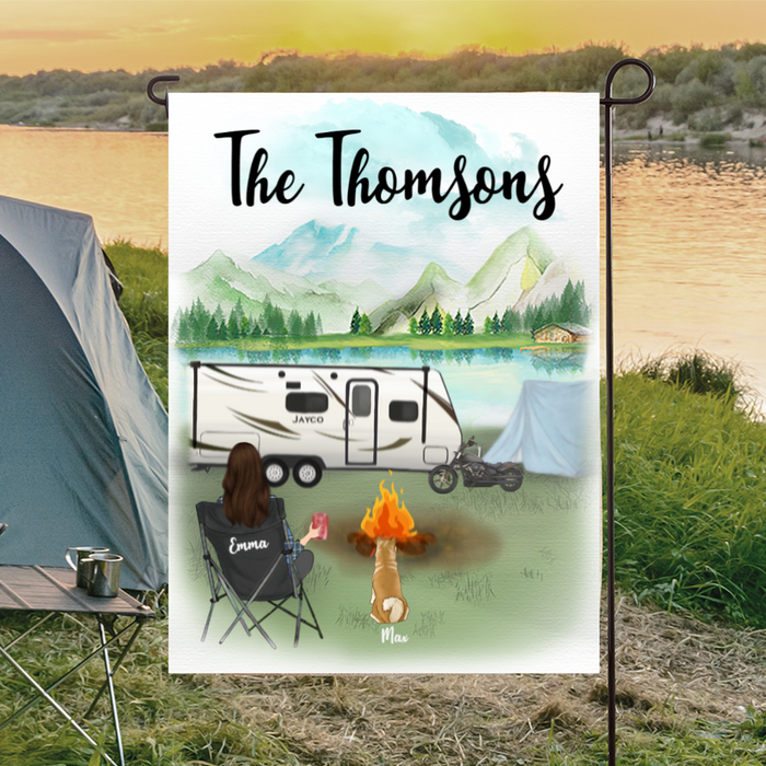 Personalized Mother's Day Gift For Dog Mom - Mom & 1 Dog Personalized Camping Flag Sign - Happy Campers Banner - Gift idea for dog moms