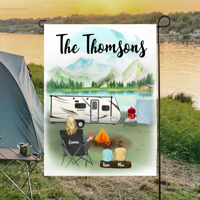 Personalized camping flag sign Gift For Single Mom- Best Camping Garden Flag - Single Mom & 2 Kids Personalized Banner