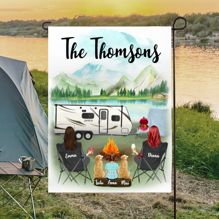 Two Women With 1 Kid And 2 Dogs - Camping - Personalized Flag V2
