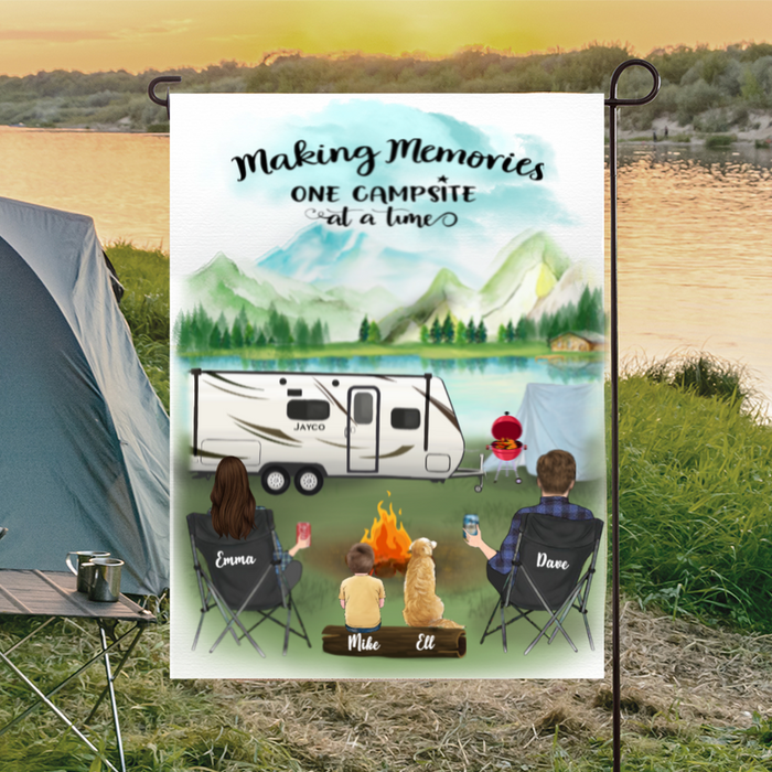 Family With 1 Kid And  1 Dog - Camping - Personalized Garden Flag, Making memories one campsite at a time