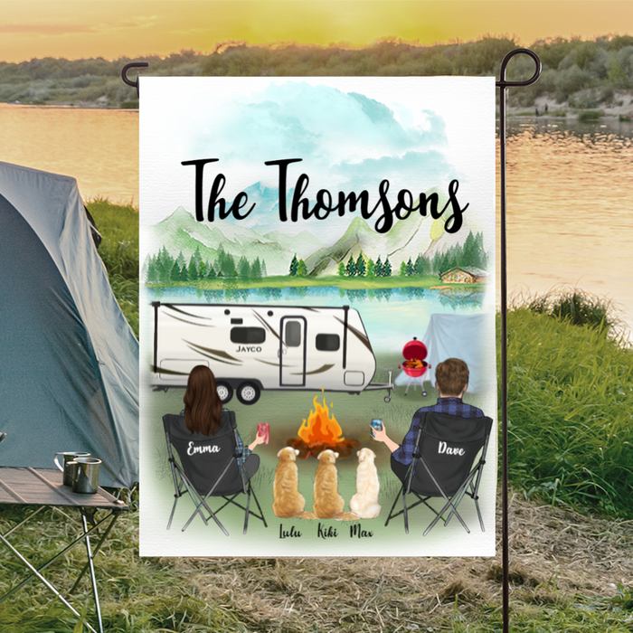 Personalized camping flag sign gift idea for the whole family, dog lovers - Couple & 3 Dogs Banner