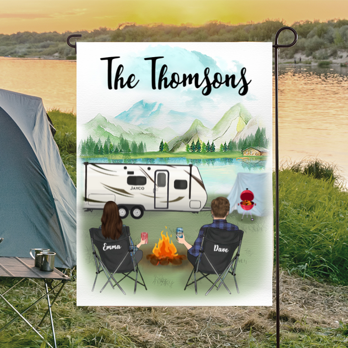 Personalized camping flag sign gift idea for the whole family, couples, camping lovers - Couple Personalized Banner - Husband and wife camping partner for life