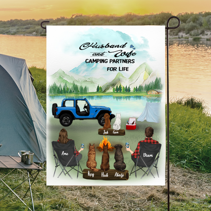 Custom family flag sign - Personalized camping flag gift idea for the whole family, cat dog lovers, camping lovers - Couple & 5 Pets personalized banner - Husband and wife camping partners for life