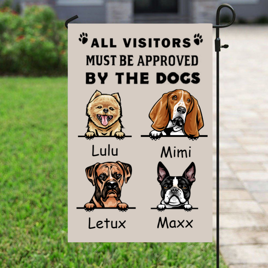 Custom Dog Flag Sign - All visitors must be approved by the dogs - Upto 4 Dogs Banner - Personalized Garden Flag