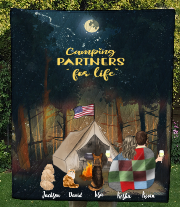 Couple With 3 Pets, Camping In The Forest Quilt Blanket - Personalized Camping in Forest Quilt Blanket