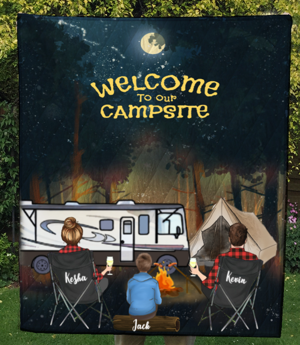 Family With 1 Teen And Camper, Man And Woman, Husband And Wife, Personalised Camping In The Forest Quilt Blanket
