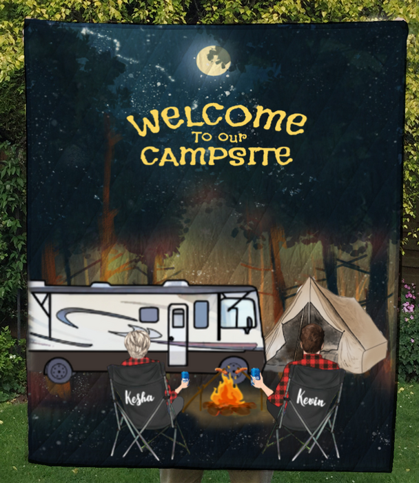 Personalized camping blanket gift idea for the whole family, camping lovers - Couple & Campers forest camping quilt