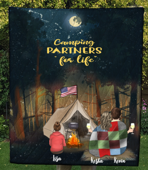 Personalized camping blanket gift idea for the whole family, camping lovers - Parents & Kid forest camping quilt - Life is better around the campfire