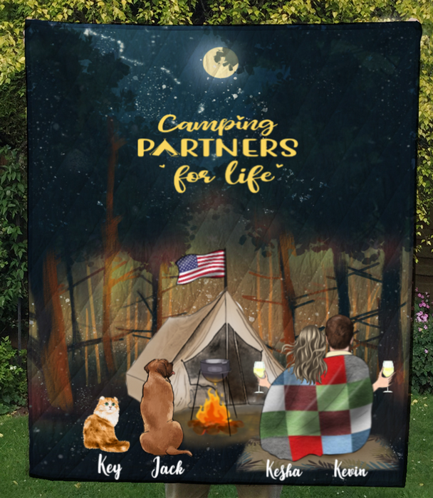 Couple With 2 Pets , Man And Woman , Personalized Camping in Forest Quilt Blanket