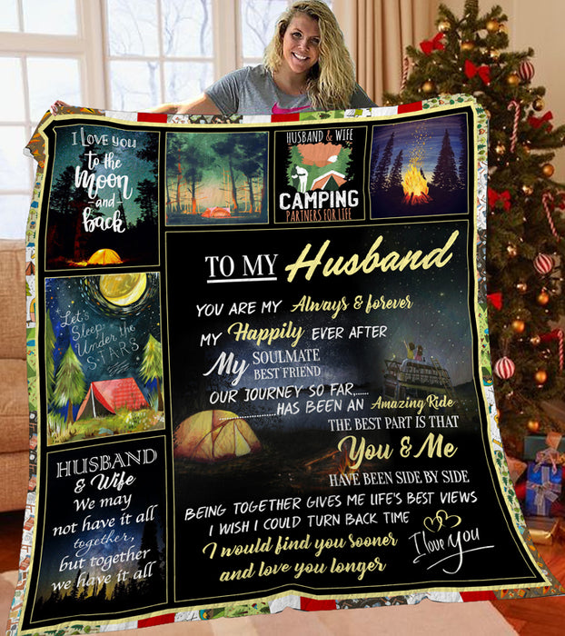 To My Husband Camping Quilt Blanket - Best Gift For Husbands