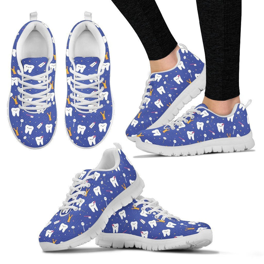 Men's Sneakers - White - Dental Cute Shoes - Blue Version / US5 (EU38) Dental Cute Shoes - Blue Version