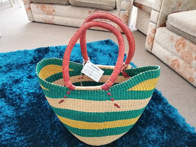 African Basket Large Oval Thin top Green/Yellow