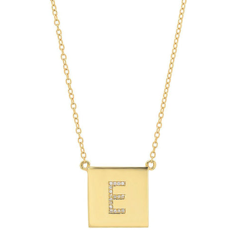 Yellow Gold Scrabble Initial Necklace