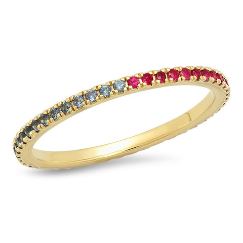 Eriness Jewelry Ruby and Blue Sapphire Eternity Band