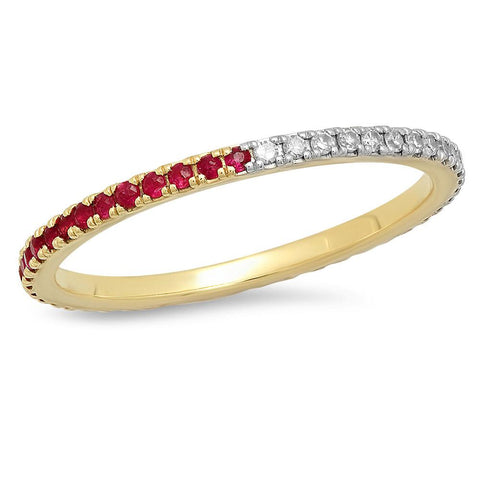 Eriness Jewelry Ruby and Diamond Eternity Band
