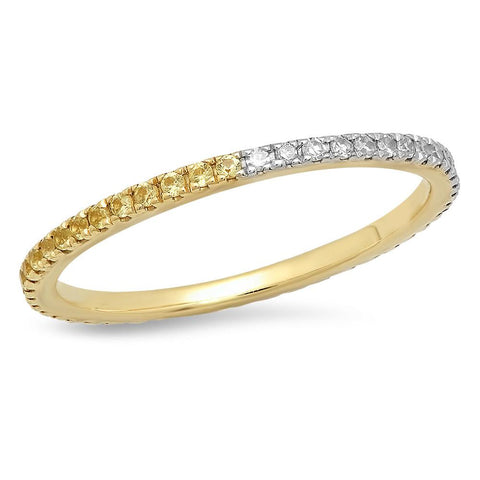 Eriness Jewelry Yellow Sapphire and Diamond Eternity Band