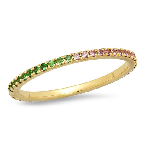 Tsavorite and Pink Sapphire Eternity Band