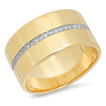 14K Yellow Gold Cigar Band with Pave Diamond Row