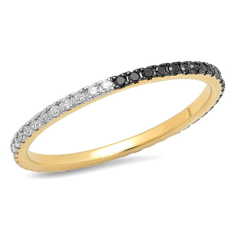 Eriness Jewelry Black and White Diamond Eternity Band