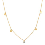 Eriness Jewelry Mini Square Necklace with Single Diamond