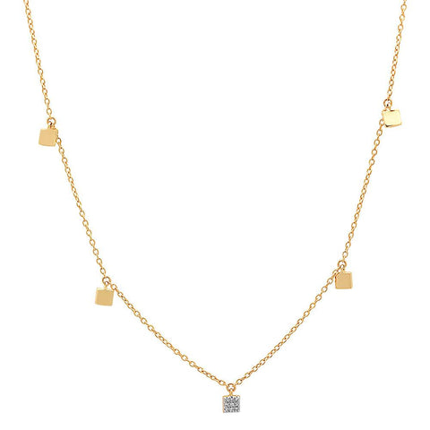 Yellow Gold Mini Square Necklace with Single Diamond