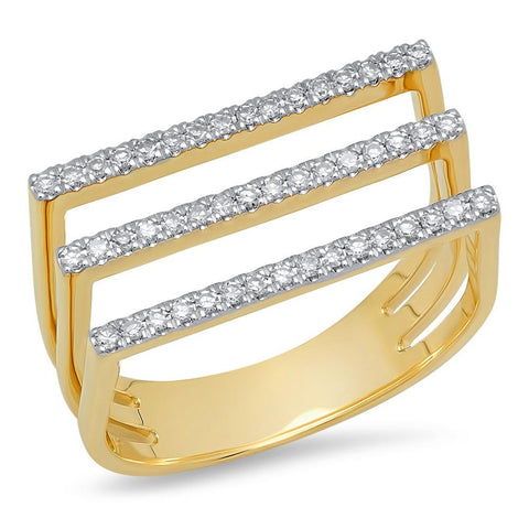 Eriness Jewelry Triple Diamond Staple Ring
