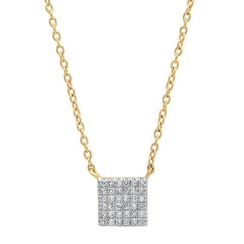 Eriness Jewelry Pave Diamond Square Necklace