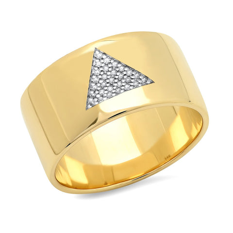 Eriness Jewelry Cigar Band With Pave Diamond Triangle