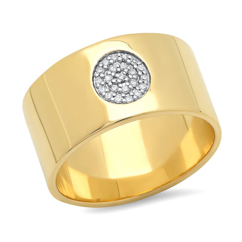 Eriness Jewelry Cigar Band With Pave Diamond Circle