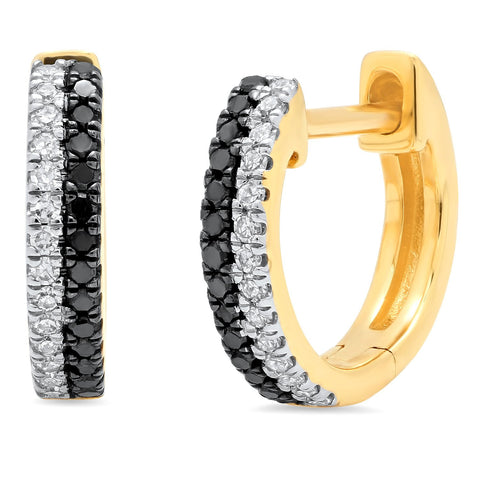 Eriness Jewelry Black and White Diamond Huggies