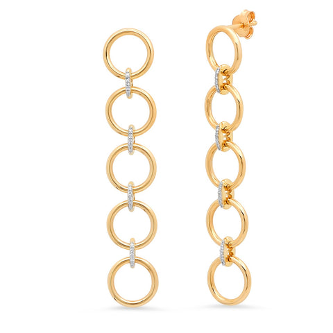 Five Loop Earrings with Diamond Links