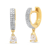 Eriness Jewelry Diamond Huggies with Diamond Tear Drop