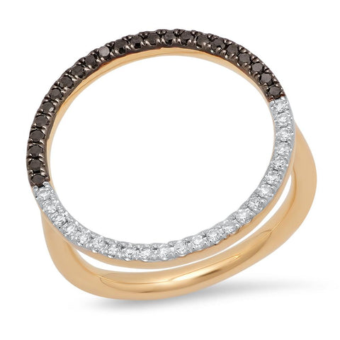 14K Yellow Gold Black and White Diamond Circle Ring