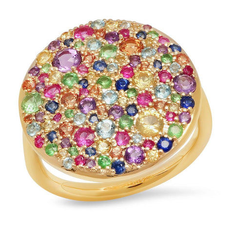 14K Yellow Gold Multi Colored Cluster Ring