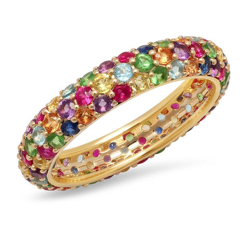 14K Yellow Gold Multi Colored Domed Ring