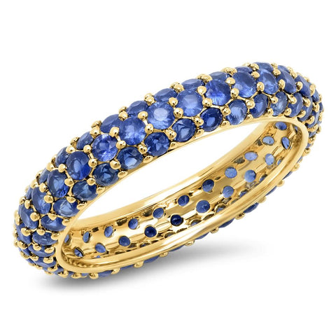 14K Yellow Gold Blue Sapphire Domed Ring
