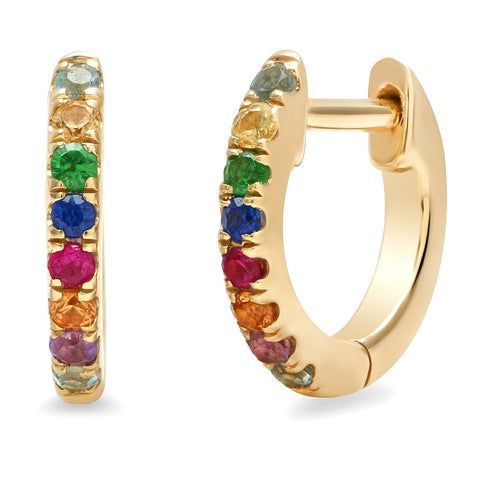 14K Yellow Gold Multi Colored Mini Huggies