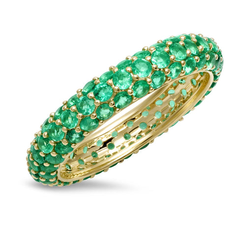 14K Yellow Gold Emerald Domed Ring