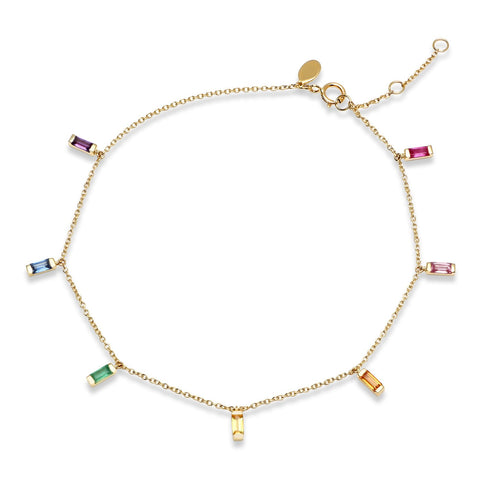 Eriness Jewelry Rainbow Baguette Anklet