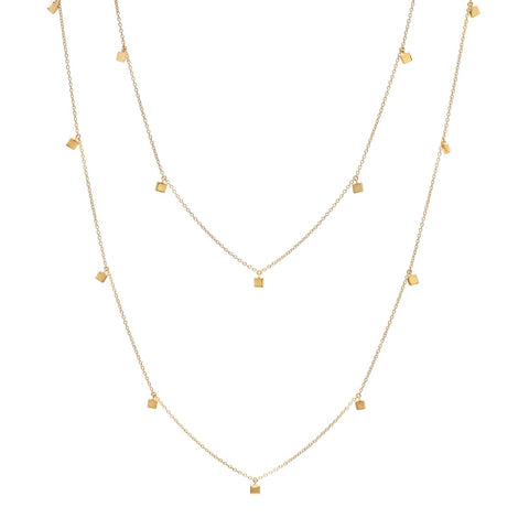 Yellow Gold Long Mini Square Necklace