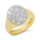 Yellow Gold Diamond Signet Pinky Ring