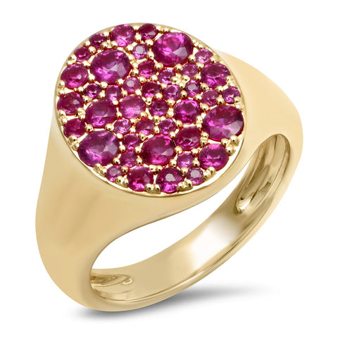 Yellow Gold Ruby Signet Pinky Ring