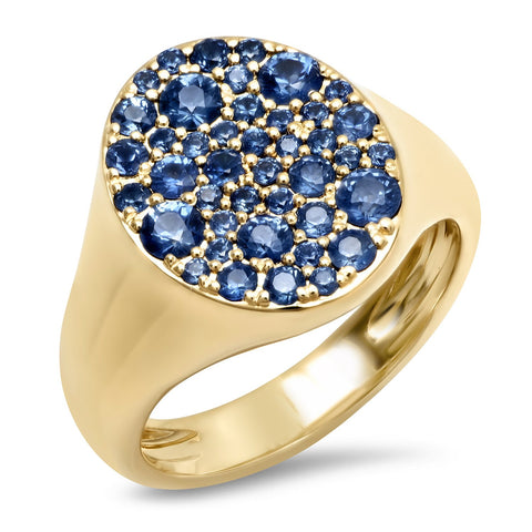 14K Yellow Gold Blue Sapphire Signet Pinky Ring