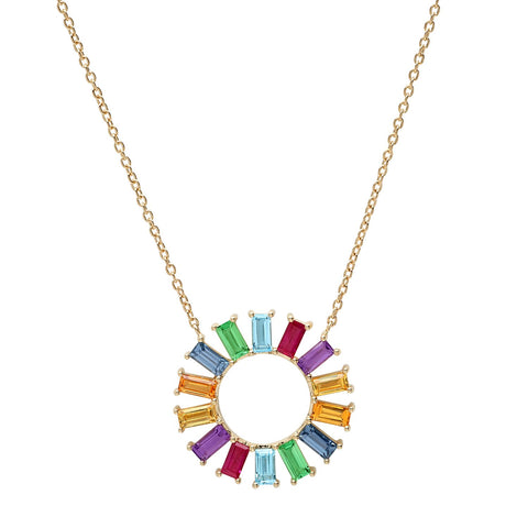 Yellow Gold Rainbow Baguette Color Wheel Necklace