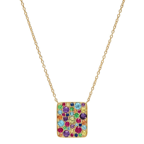 Yellow Gold Multi Colored Cluster Necklace