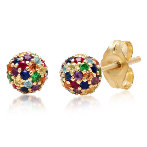 14K Yellow Gold Multi Colored Disco Ball Studs