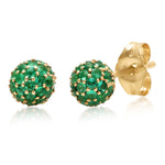 Eriness Jewelry Emerald Disco Ball Studs
