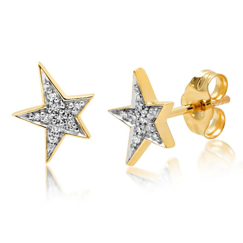 14K Yellow Gold Diamond Star Studs