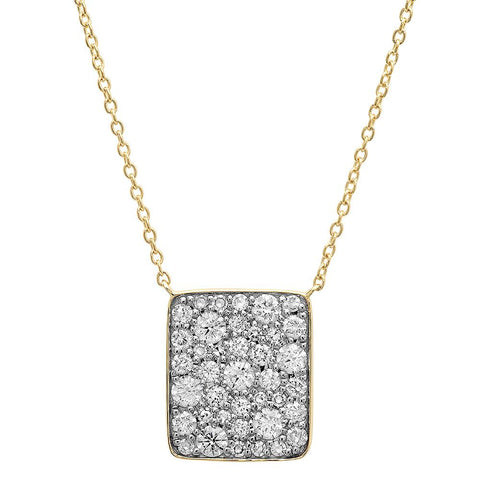 Yellow Gold Diamond Cluster Necklace